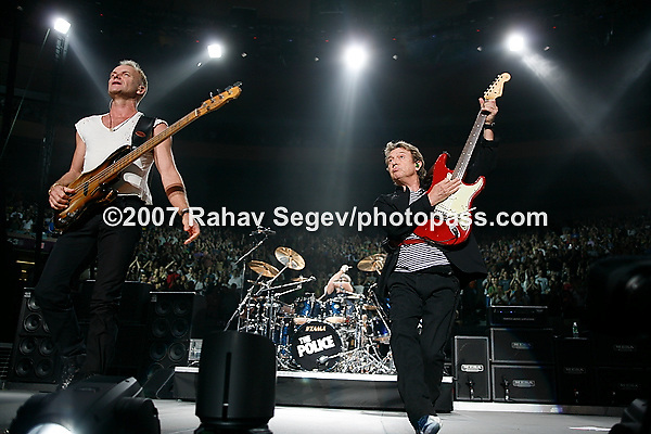 The Police performing at Madison Square Garden on August 3, 2007. .Sting on Bass.Andy Summers on guitar.Stuart Copeland on Drums.