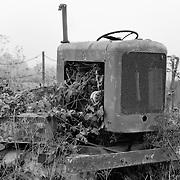 Abandoned Roadside Tractor - Carmel, CA - Black & White