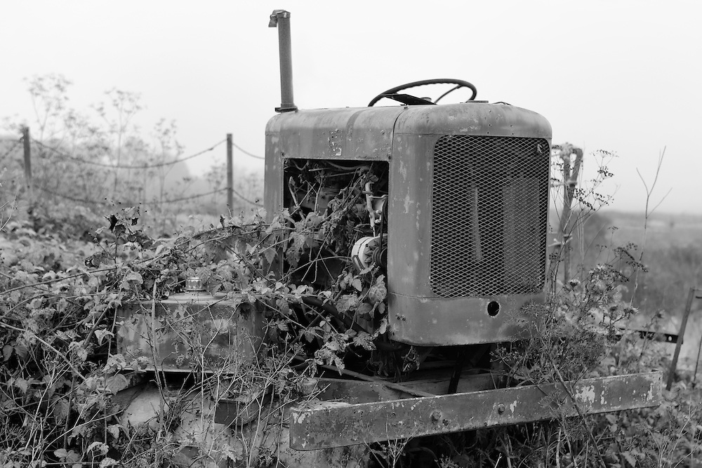 Abandoned Roadside Tractor - Carmel, CA - Black & White
