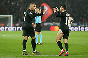 GOAL -1-1 Kylian Mbappe of Paris Saint-Germain celebrates with goal scorer Juan Bernat of Paris Saint-Germain during the Champions League Round of 16 2nd leg match between Paris Saint-Germain and Manchester United at Parc des Princes, Paris, France on 6 March 2019.