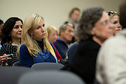 Tavia Hunt looks on during a Highland Park school board meeting at McCulloch Intermediate School in Dallas, Texas on November 11, 2014. (Cooper Neill for The Texas Tribune)