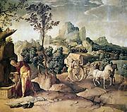 St Philip Baptising the Eunuch'. Oil on wood. Jan van Scorel (1495-1562) Netherlandish Romanist painter. Philip the Evangelist (The Deacon) baptising Ethiopian , supposed begining of the Ethiopian church.  Transport Carriage