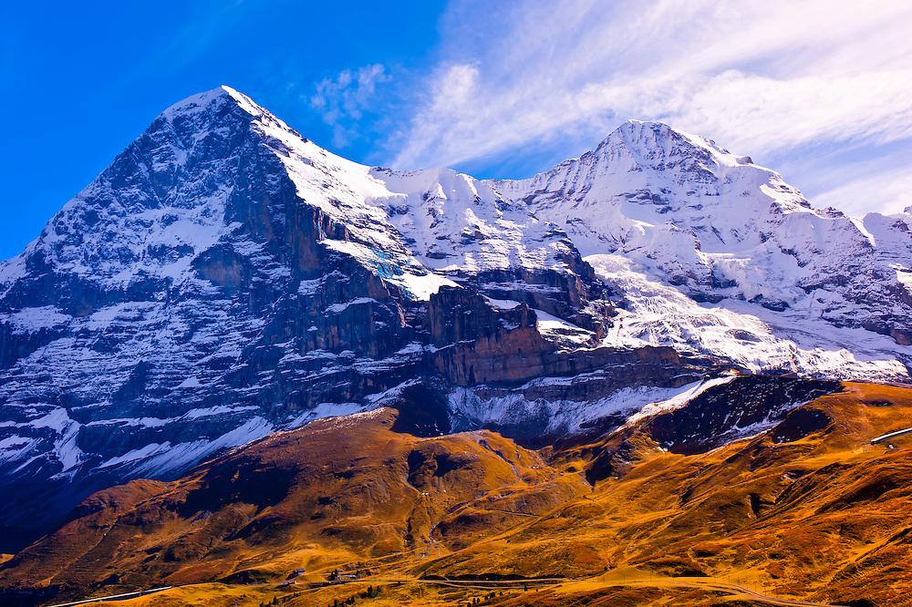 Eiger, Monch and Jungfrau (peaks), Swiss Alps, Canton Bern, Switzerland
