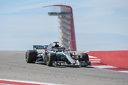 October 21, 2018 - Austin, TX, U.S. - AUSTIN, TX - OCTOBER 21: Mercedes driver Lewis Hamilton (44) of Great Britain makes his way down the hill with the tower in the background during the F1 United States Grand Prix on October 21, 2018, at Circuit of the Americas in Austin, TX. (Photo by Ken Murray/Icon Sportswire) (Credit Image: © Ken Murray/Icon SMI via ZUMA Press)