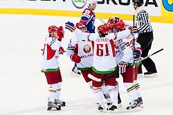 Team Belarus celebrate goal during ice-hockey match between Slovenia and Belarus of Group G in Relegation Round of IIHF 2011 World Championship Slovakia, on May 8, 2011 in Orange Arena, Bratislava, Slovakia. (Photo by Matic Klansek Velej / Sportida)