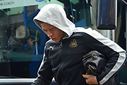 Newcastle United forward Dwight Gayle (9) gets off the team coach during the EFL Sky Bet Championship match between Birmingham City and Newcastle United at St Andrews, Birmingham, England on 18 March 2017. Photo by Alan Franklin.