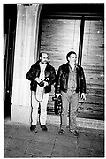 Richard Young and Dave Bennet outside Noble Rot. party after the opening of Hurricane. Noble Rot. Feb. 2000. © Copyright Photograph by Dafydd Jones 66 Stockwell Park Rd. London SW9 0DA Tel 020 7733 0108 www.dafjones.com