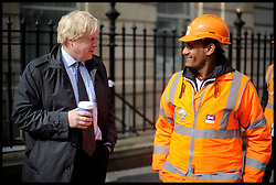 London Mayor Boris Johnson, during the Mayoral Campaign, London, UK, April 13, 2012. Photo By Andrew Parsons / i-Images.