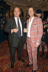 Left to right, PETER ACKROYD and PIERRE LAGRANGE at a cocktail reception hosted by the Woolmark Company, Pierre Lagrange and the Savile Row Bespoke Association to celebrate 'The Ambassador's Project' for London Collections Mens at Marks Club, Charles street, London on 8th January 2016.