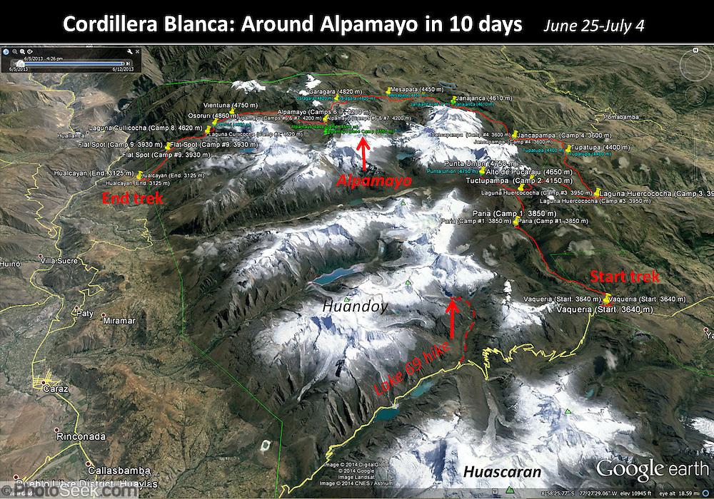 Peru map Around Alpamayo, in Cordillera Blanca, Andes, South America