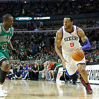 17 March 2012: Philadelphia Sixers small forward Andre Iguodala (9) drives past Chicago Bulls small forward Luol Deng (9) during the Chicago Bulls 89-80 victory over the Philadelphia Sixers at the United Center, Chicago, Illinois, USA.