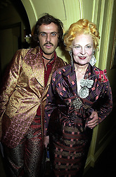 Top British fashion designer VIVIENNE WESTWOOD and her husband MR ANDREAS KRONTHALER, at a party in London on 1st October 2000.OHM 147