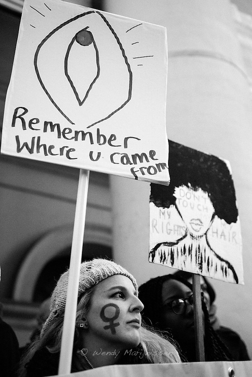 The Brussels Women's March/ Light for rights march on the eve of the inauguration of president elect Donald Trump - Brussels<br />