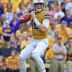 Sep 17, 2016; Baton Rouge, LA, USA;  LSU Tigers quarterback Danny Etling (16) against the Mississippi State Bulldogs during the first quarter of a game at Tiger Stadium. Mandatory Credit: Derick E. Hingle-USA TODAY Sports