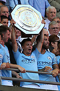 Manchester City Midfielder Brahim Diaz (55) holding up the trophy/ shield during the FA Community Shield match between Chelsea and Manchester City at Wembley Stadium, London, England on 5 August 2018.