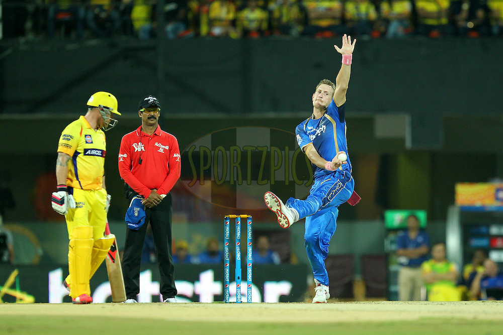 Chris Morris  of Rajasthan Royals bowls during match 47 of the Pepsi IPL 2015 (Indian Premier League) between The Chennai Superkings and The Rajasthan Royals held at the M. A. Chidambaram Stadium, Chennai Stadium in Chennai, India on the 10th May 2015.Photo by:  Prashant Bhoot / SPORTZPICS / IPL