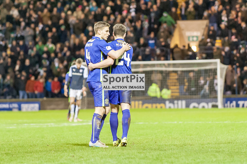 Hibernian's Paul Hanlon and goalscorer Darren McGregor celebrate a 2-0 win. Action from the Raith Rovers v Hibernian game in the 3rd Round of the Scottish Cup at  in Kirkcaldy, 9 January 2016. (c) Paul J Roberts / Sportpix.org.uk