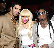 HOLLYWOOD, CA - FEBRUARY 19:  Drake, Nicki Minaj and Lil Wayne attend the IMP Entertainment And Steve Marlton Worldwide Allstar Event at Siren Studios on February 19, 2011 in Hollywood, California.  (Photo by Todd Williamson/WireImage)
