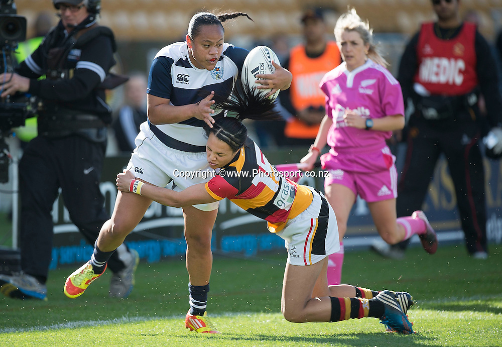 Mele Hufanga (L) of Auckland is tackled by Chyna Hohepa of Waikato during the Women's Provincial Championship final rugby match between Auckland & Waikato at Yarrow Stadium in New Plymouth, New Zealand, 25th October  2014. Photo: Marty Melville/Photosport.co.nz