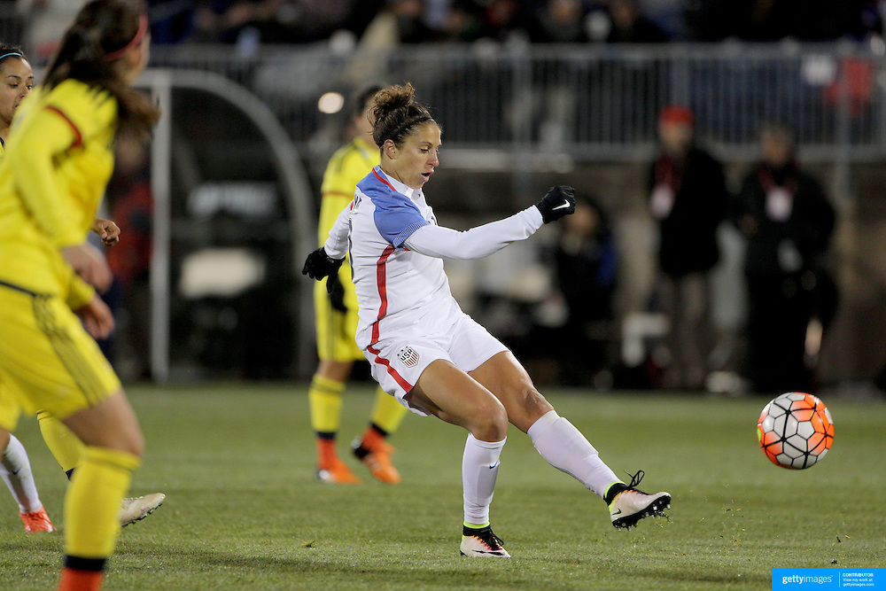 Carli Lloyd, USA, shoots during the USA Vs Colombia, Women's International friendly football match at the Pratt & Whitney Stadium, East Hartford, Connecticut, USA. 6th April 2016. Photo Tim Clayton