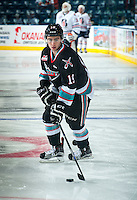 KELOWNA, CANADA - SEPTEMBER 25: Dillon Dube #19 of Kelowna Rockets warms up against the Kamloops Blazers on September 25, 2015 at Prospera Place in Kelowna, British Columbia, Canada.  (Photo by Marissa Baecker/Shoot the Breeze)  *** Local Caption *** Dillon Dube;