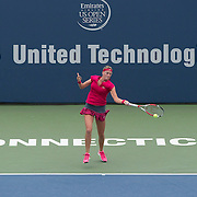 August 21, 2014, New Haven, CT:<br /> Petra Kvitova hits a forehand during a match against Barbora Zahlavova Strycova on day seven of the 2014 Connecticut Open at the Yale University Tennis Center in New Haven, Connecticut Thursday, August 21, 2014.<br /> (Photo by Billie Weiss/Connecticut Open)