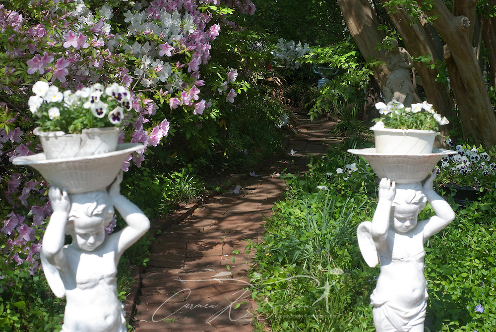 Concrete planters bearing pansies flank a shady, azalea-lined path in the gardens of Rosewood Manor in Columbus, Miss. April 16, 2010. The Greek-Revival antebellum home was among nearly two dozen on tour during Columbus' annual Spring Pilgrimage. (Photo by Carmen K. Sisson/Cloudybright)