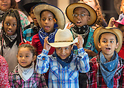 Students perform during a dedication and ribbon cutting ceremony at Katherine Smith Elementary School, April 27, 2016.