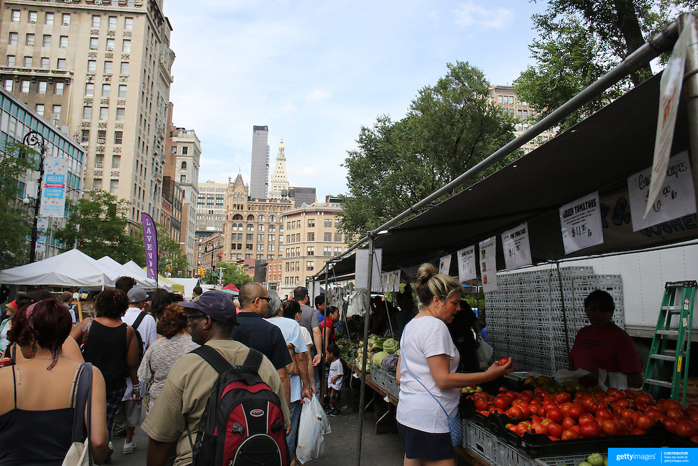 Union Square Market, Manhattan, New York. The world-famous Union Square Greenmarket began with just a few farmers in 1976, has grown exponentially over the past 35 years: in peak season, 140 regional farmers, fishermen, and bakers descend upon Union Square to sell their products to a devout legion of city dwellers who support local agriculture with their food dollars. New York, USA. 24th July 2013. Photo Tim Clayton