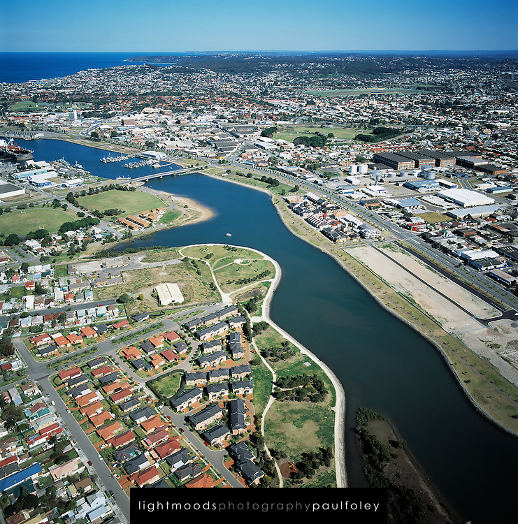 Aerial view of Newcastle Harbour, Honeysuckle Development, Australia,