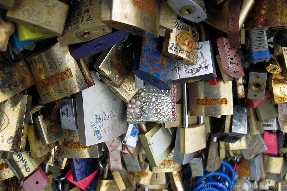 Europe, France, Paris. Love-locks on the Pont de l'Archevêché over the Seine.