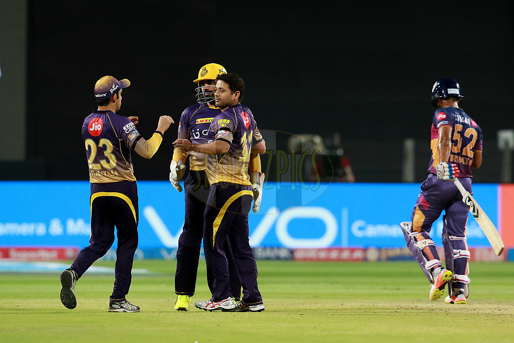 Piyush Chawla of KKR celebrates after takes a wicket of Rahul Tripathi of RPS during match 30 of the Vivo 2017 Indian Premier League between the Rising Pune Supergiants and the Kolkata Knight Riders  held at the MCA Pune International Cricket Stadium in Pune, India on the 26th April 2017<br /> <br /> Photo by Rahul Gulati - Sportzpics - IPL