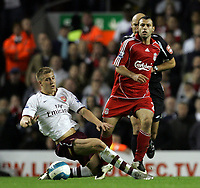 Photo: Paul Thomas.<br /> Liverpool v Arsenal. The FA Barclays Premiership. 28/10/2007.<br /> <br /> Nicklas Bendtner (L) of Aresenal tries to tackle Javier Mascherano.