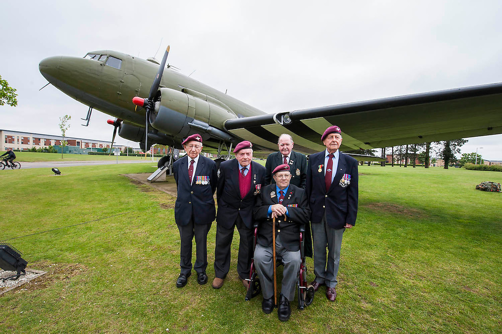 Veterans of the Parachute Regiment at the time of D Day, in the second world war, visit 16 Air Assault Brigade who will be carrying out a drop to commemorate the 70th anniversary next week. Colchester, UK.