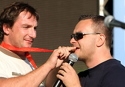 Athlete Primoz Kozmus, Olympic gold medal winner and Saso Papp of Radio Center at welcome ceremony in Olympic City BTC, on August 21, 2008, in Alea Mladih, BTC, Ljubljana, Slovenia. (Photo by Vid Ponikvar / Sportal Images)./ Sportida)
