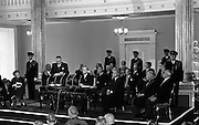 Inauguration of Eamon de Valera as President. De Valera takes the oath of office administered by the Chief Justice, Cearbhaill O'Dalaigh, An Taoiseach Seán Lemass and members of the government..25.06.1966
