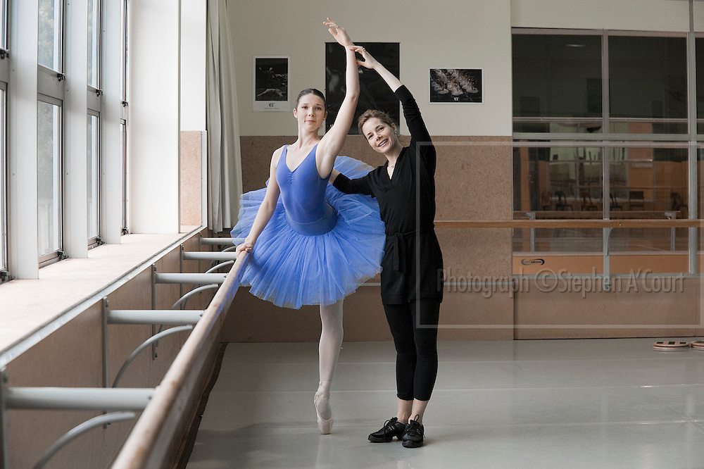 Acclaimed British ballerina Darcey Bussell coaches NZ School of Dance student Laura Jones, on 2 June 2012.