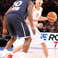 15 July 2012: Sergio Rodriguez of Team Spain looks to pass the ball during a pre-Olympic exhibition game won 75-70 by Spain over France, at the Palais Omnisports de Paris Bercy, in Paris, France.