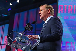 April 26, 2018 - Arlington, TX, U.S. - ARLINGTON, TX - APRIL 26:  NFL Commissioner Roger Goodell during the first round at the 2018 NFL Draft at AT&T Statium on April 26, 2018 at AT&T Stadium in Arlington Texas.  (Photo by Rich Graessle/Icon Sportswire) (Credit Image: © Rich Graessle/Icon SMI via ZUMA Press)