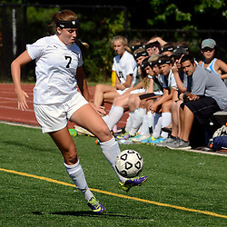 Staff photos by Tom Kelly IV<br /> Strath Haven's Maddy Tannert-Schmidt (7) controls the ball as she runs down the field during the Agnes Irwin School vs Strath Haven girls soccer scrimmage in Nether Providence Township, Thursday August 28, 2014.
