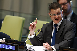 Vuk Jeremic, President of the 67th session of the United Nations General Assembly, and former minister of foreign affairs of Serbia, candidate for the position of the next secretary-general, presents himself to the member states at the United Nations headquarters in New York, April 14, 2016. The UN General Assembly on Tuesday kicked off a three-day informal dialogue with candidates for the position of the next secretary-general. EXPA Pictures © 2016, PhotoCredit: EXPA/ Photoshot/ Li Muzi<br /> <br /> *****ATTENTION - for AUT, SLO, CRO, SRB, BIH, MAZ, SUI only*****