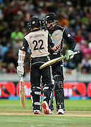 Black Cap's Kane Williamson and Black Cap's Martin Guptill celebrate their 100 run partnership during the second T20 match of the ANZ International T20 series - New Zealand Black Caps v Pakistan played at Seddon Park, Hamilton, New Zealand on Sunday 17 January 2016. Copyright Photo:  Bruce Lim / www.photosport.nz