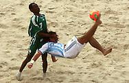 Football - FIFA Beach Soccer World Cup 2006 - Group D - Arg x Nga - Rio de Janeiro - Brazil 02/11/2006<br />Ibenegbu Bartholomeu (nga) and Lopes Federico (Arg) during the game  Event Title Boad Mandatory Credit: FIFA / Ricardo Moraes