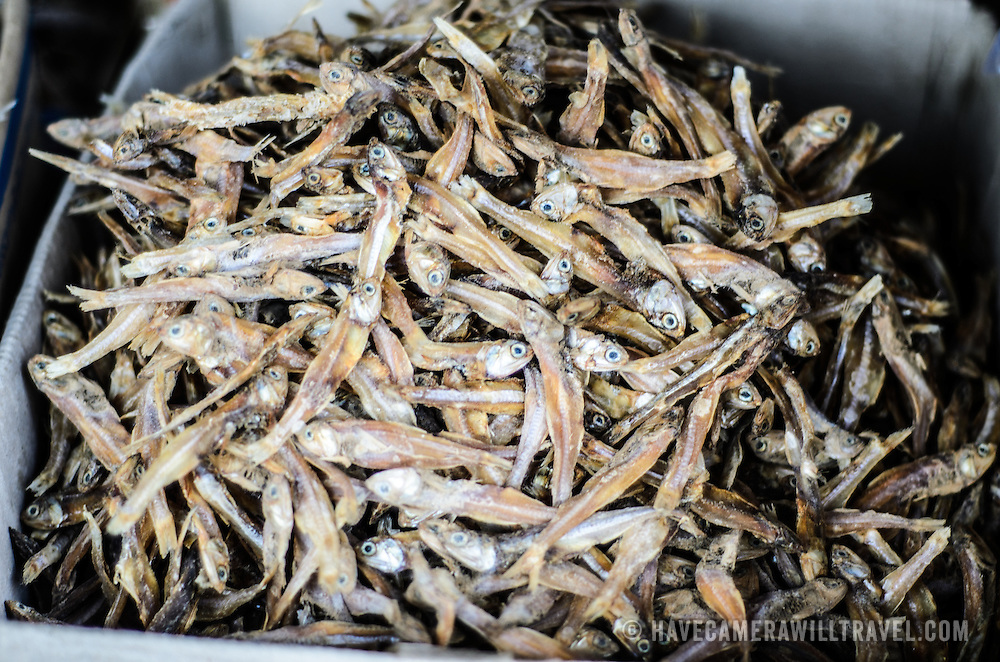 Small dried and salted fish for sale at the large and bustling morning market in Phonsavan in northeastern Laos. The people of the region are predominantly of Hmong ethnicity.