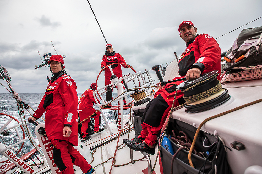 Leg 6 to Auckland, day 02 on board MAPFRE, Sophie Ciszek, Rob Greenhalgh, Guillermo Altadill and Xabi Fernandez on deck.  08 February, 2018.