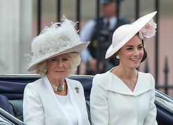 LONDON - UK - 11th June 2016: Members of the British royal family join HM Queen Elizabeth II and HRH The Duke of Edinburgh for the annual Trooping The Colour ceremony in London.<br /> The Queen joined by many members of the family including HRH The Prince of Wales, with HRH The Duchess of Cornwall, The Duke and Duchess of Cambridge, Prince Harry, Prince Edward and HRH The Countess of Wessex, Prince Andrew, Princess Beatrice and Princess Eugenie.<br /> <br /> Photograph by Gareth Davies for Ian Jones Photography. <br /> Copyright Ian Jones&copy;