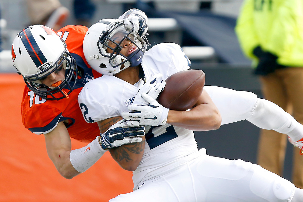 Penn State safety Marcus Allen (2) breaks up a pass intended for Illinois wide receiver Mike Dudek (18) during the first half of an NCAA college football game at Memorial Stadium Saturday, Nov. 22, 2014, on the University of Illinois campus in Champaign, Ill. (Lee News Service/ Stephen Haas)