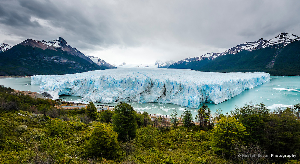A panorama of the massive Perito Moreno Glacier in Los Glaciares National Park, Argentina.