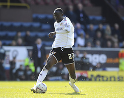 Bristol City's Albert Adomah races free of Burnley's Joseph Mills and takes the ball past Burnley's Lee Grant to score - Photo mandatory by-line: Joe Meredith/JMP - Tel: Mobile: 07966 386802 06/04/2013 - SPORT - FOOTBALL - Turf Moor - Burnley - Burnley V Bristol City - Npower Championship