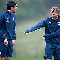 St Johnstone Training....21.09.15<br /> David Wotherspoon joking with Joe Shaughnessy at McDiarmid Park this morning<br /> Picture by Graeme Hart.<br /> Copyright Perthshire Picture Agency<br /> Tel: 01738 623350  Mobile: 07990 594431